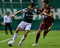 PALMIRA - COLOMBIA, 14-02-2019: Matias Cabrera del Cali disputa el balón con Luis Nery Caballero de Tolima durante partido por la fecha 14 de la Liga Águila I 2019 entre Deportivo Cali y Deportes Tolima jugado en el estadio Deportivo Cali de la ciudad de Palmira. / Matias Cabrera of Cali vies for the ball with Luis Nery Caballero of Tolima during match for the date 14 as a part Aguila League I 2019 between Deportivo Cali and Deportes Tolima played at Deportivo Cali stadium in Palmira city.  Photo: VizzorImage/ Nelson Rios / Cont