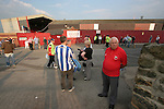 Barnsley 0 Huddersfield Town 1, 12/05/2006. Oakwell, League One Play Off Semi Final 1st Leg. Barnsley (red shirts) versus Huddersfield Town, Coca-Cola League One play-off semi-final first leg at Oakwell, Barnsley. The visitors won one-nil with a goal from Gary Taylor-Fletcher in 85 minutes. Picture shows fans milling around outside the ground prior to kick-off. Photo by Colin McPherson.