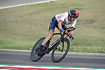 Geraint Thomas (WAL) in action on the Imola race circuit during the 31.7km Men Elite Time Trial of the 2020 UCI World Championships held around Imola, Italy. 25th September 2020.  <br /> Picture: Sirotti Stefano | Cyclefile<br /> <br /> All photos usage must carry mandatory copyright credit (© Cyclefile | Sirotti Stefano)