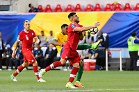 Harrison, NJ - Friday July 07, 2017: Gregory Lescot, Lucas Cavallini during a 2017 CONCACAF Gold Cup Group A match between the men's national teams of French Guiana (GUF) and Canada (CAN) at Red Bull Arena.