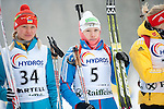 MARTELL-VAL MARTELLO, ITALY - FEBRUARY 02: (L-R) BONDAR Iana (UKR) and ZAGORUIKO Anastasia (RUS) before the flower ceremony after the Women 7.5 km Sprint at the IBU Cup Biathlon 6 on February 02, 2013 in Martell-Val Martello, Italy. (Photo by Dirk Markgraf)