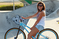 Georgina on DMR bike.  Hayle skatepark , Cornwall .
