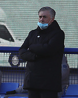 9th January 2021; Goodison Park, Liverpool, Merseyside, England; English FA Cup Football, Everton versus Rotherham United; Everton Manager Carlo Ancelotti follows the action from the touchline