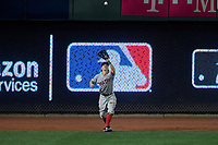Boston Red Sox outfielder Brock Holt catches a fly ball during the MLB All-Star Game on July 14, 2015 at Great American Ball Park in Cincinnati, Ohio.  (Mike Janes/Four Seam Images)