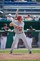 Auburn Doubledays catcher Nic Perkins (43) at bat during a game against the Batavia Muckdogs on September 1, 2018 at Dwyer Stadium in Batavia, New York.  Auburn defeated Batavia 10-5.  (Mike Janes/Four Seam Images)