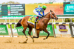 """OCT10, 2020 :Jackie's Warrior with Joel Rosario aboard, wins the """"Win & You're In""""   Grade 1 Champagne Stakes, for 2-year olds, at Belmont Park, Elmont, NY.  Sue Kawczynski/Eclipse Sportswire/CSM"""