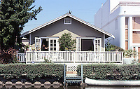 """Venice CA: Carroll Canal, another lovely little bungalow, a """"teardown"""" next to a big new house. Photo '88."""