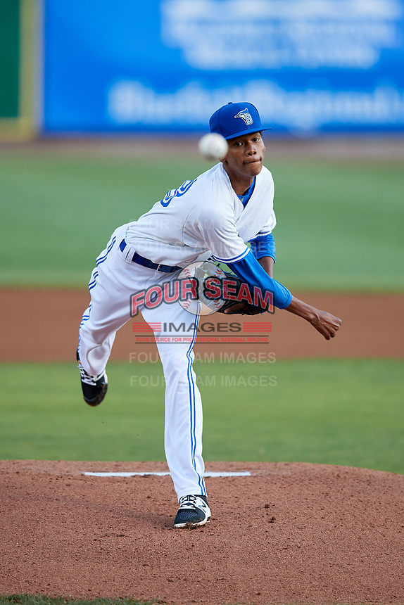 Bluefield Blue Jays starting pitcher Nathanael Perez (28) delivers a pitch during the second game of a doubleheader against the Bristol Pirates on July 25, 2018 at Bowen Field in Bluefield, Virginia.  Bristol defeated Bluefield 5-2.  (Mike Janes/Four Seam Images)