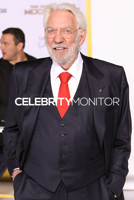 LOS ANGELES, CA, USA - NOVEMBER 17: Donald Sutherland arrives at the Los Angeles Premiere Of Lionsgate's 'The Hunger Games: Mockingjay, Part 1' held at Nokia Theatre L.A. Live on November 17, 2014 in Los Angeles, California, United States. (Photo by Rudy Torres/Celebrity Monitor)