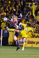 25 OCTOBER 2009:  Jeff Larentowicz of the New England Revolution (13) and Frankie Hejduk of the Columbus Crew(2) during the New England Revolution at Columbus Crew MLS game in Columbus, Ohio on October 25, 2009.