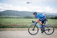 """Nelson Oliveira (POR/Movistar) & Koen Bouwman (NED/Jumbo-Visma) over the final gravel sector of the day.<br /> <br /> 104th Giro d'Italia 2021 (2.UWT)<br /> Stage 11 from Perugia to Montalcino (162km)<br /> """"the Strade Bianche stage""""<br /> <br /> ©kramon"""