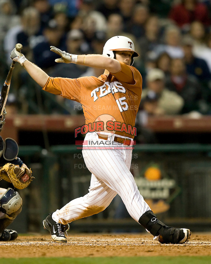 NCAA Baseball featuring the Texas Longhorns against the Missouri Tigers. Moldenhauer, Russell 3637  at the 2010 Astros College Classic in Houston's Minute Maid Park on Sunday, March 7th, 2010. Photo by Andrew Woolley