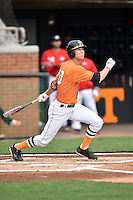 Tennessee Volunteers shortstop A.J. Simcox (10) swings at a pitch during a game against the Georgia Bulldogs at Lindsey Nelson Stadium March 21, 2015 in Knoxville, Tennessee. The Bulldogs defeated the Volunteers 12-7. (Tony Farlow/Four Seam Images)