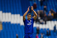 Lee Peltier of Cardiff City claps the fans at full time of the Sky Bet Championship match between Cardiff City and Middlesbrough at the Cardiff City Stadium, Cardiff, Wales on 17 February 2018. Photo by Mark Hawkins / PRiME Media Images.