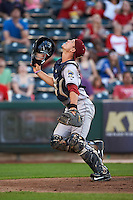 Frisco RoughRiders catcher Patrick Cantwell (3) looks for a foul ball popup during a game against the Springfield Cardinals  on June 4, 2015 at Hammons Field in Springfield, Missouri.  Frisco defeated Springfield 8-7.  (Mike Janes/Four Seam Images)