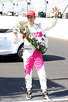 30th May 2021, Indianapolis, Indiana, USA; NTT Indy Car Series driver Helio Castroneves holds up four fingers for becoming a 4 time Indy 500 winner after winning the 105th running of the Indianapolis 500 on May 30, 2021 at the Indianapolis Motor Speedway in Indianapolis, Indiana.