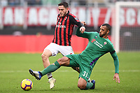 Davide Calabria of AC Milan and Vitor Hugo of Fiorentina compete for the ball during the Serie A 2018/2019 football match between AC Milan and ACF Fiorentina at stadio Giuseppe Meazza in San Siro, Milano, December 22, 2018 <br />  Foto Matteo Gribaudi / Insidefoto
