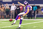 Minnesota Vikings punter Jeff Locke (18) in action during the pre-season game between the Minnesota Vikings and the Dallas Cowboys at the AT & T stadium in Arlington, Texas. Minnesota defeats the Cowboys 28 to 14.