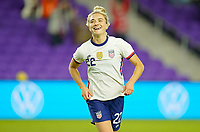 ORLANDO, FL - JANUARY 18: Kristie Mewis #22 of the United States celebrates her goal during a game between Colombia and USWNT at Exploria Stadium on January 18, 2021 in Orlando, Florida.