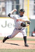 April 15th 2008:  Pitcher Kam Mickolio (45) of the Bowie Baysox, Class-AA affiliate of the Baltimore Orioles, delivers a pitch during a game at Jerry Uht Park in Erie, PA.  Photo by:  Mike Janes/Four Seam Images