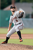 Pitcher Thomas Girard (3) of the Delmarva Shorebirds in a game against the Lynchburg Hillcats on Wednesday, August 11, 2021, at Bank of the James Stadium in Lynchburg, Virginia. (Tom Priddy/Four Seam Images)
