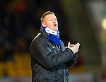 St Johnstone v Dundee United.....01.04.13      SPL.Steve Lomas applauds his players.Picture by Graeme Hart..Copyright Perthshire Picture Agency.Tel: 01738 623350  Mobile: 07990 594431