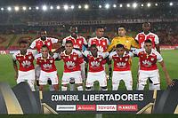 BOGOTA - COLOMBIA - 20 - 02 - 2018:Formación del equipo Independiente Santa Fe de Colombia, durante partido de vuelta entre Independiente Santa Fe (COL) y Santiago Wanderers (CHL), de la fase 3 llave 1, por la Copa Conmebol Libertadores 2018, jugado en el estadio Nemesio Camacho El Campín de la ciudad de Bogotá. / Tea of Independiente Santa Fe of Colombia , during a match for the second leg between Independiente Santa Fe (COL) and Santiago Wanderers (CHL), of the 3rd phase key 1, for the Copa Conmebol Libertadores 2018 at the Nemesio Camacho El Campin Stadium in Bogota city. Photo: VizzorImage  /Felipe Caicedo/ Staff.