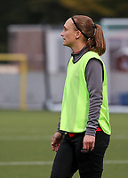 Clotilde Codden of Woluwe pictured during the warm up before a female soccer game between Oud Heverlee Leuven and Femina White Star Woluwe  on the 5 th matchday of the 2020 - 2021 season of Belgian Womens Super League , Sunday 18 th of October 2020  in Heverlee , Belgium . PHOTO SPORTPIX.BE | SPP | SEVIL OKTEM