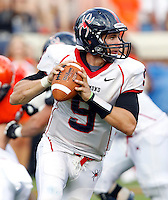 Richmond Spiders quarterback John Laub (9) handles the ball during the second half of an NCAA football game against the Virginia Cavaliers Saturday September, 1, 2012 at Scott Stadium in Charlottesville, Va. Virginia defeated Richmond 43-19.
