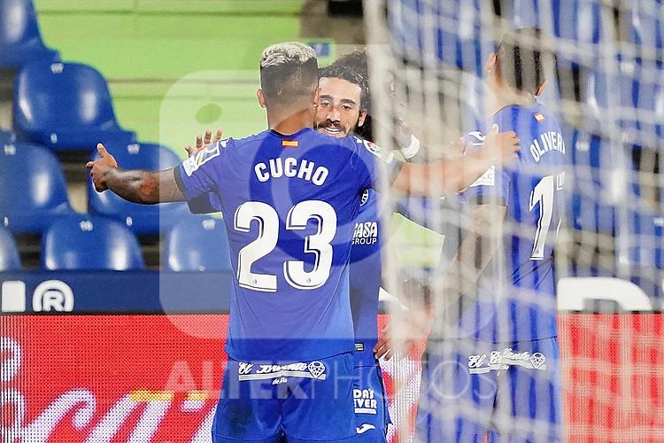 Getafe CF's Cucho Hernandez and Marc Cucurella celebrate goal during La Liga match. September 29,2020. (ALTERPHOTOS/Acero)