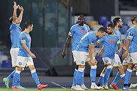 Eljif Elmas of SSC Napoli celebrates with team mates after scoring the goal 1-0 during the Europa league group C 2021/2022 football match between SSC Napoli and FC Spartak Moskva at Diego Armando Maradona stadium in Napoli (Italy), September 30th, 2021. <br /> Photo Cesare Purini / Insidefoto