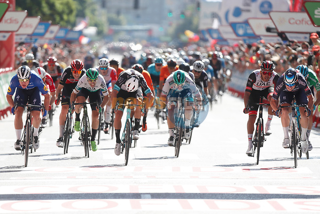 Jasper Philipsen (BEL) Alpecin-Fenix wins Stage 2, ahead of Fabio Jakobsen (NED) Deceuninck-Quick Step andMichael Matthews (AUS) Team BikeExchange, of La Vuelta d'Espana 2021, running 166.7km from Caleruega. VIII Centenario de Santo Domingo de Guzmán to Burgos. Gamonal, Spain. 15th August 2021.    <br /> Picture: Luis Angel Gomez/Photogomezsport | Cyclefile<br /> <br /> All photos usage must carry mandatory copyright credit (© Cyclefile | Luis Angel Gomez/Photogomezsport)