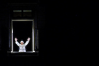 Pope Benedict XVI blesses his faithful as he leads his Angelus in Saint Peter's Square at the Vatican March 9, 2009