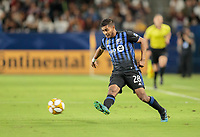 CARSON, CA - SEPTEMBER 21: Shamit Shome #28 of Montreal Impact passes off a ball during a game between Montreal Impact and Los Angeles Galaxy at Dignity Health Sports Park on September 21, 2019 in Carson, California.
