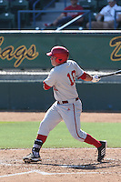 Kyle Schwarber #10 of the Indiana Hoosiers bats against the Long Beach State Dirtbags at Blair Field on March 15, 2014 in Long Beach, California. Indiana defeated Long Beach State 2-1. (Larry Goren/Four Seam Images)