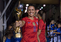 CHARLOTTE, NC - OCTOBER 3: Ali Krieger #11 of the United States celebrated her 100th cap during a game between Korea Republic and USWNT at Bank of America Stadium on October 3, 2019 in Charlotte, North Carolina.