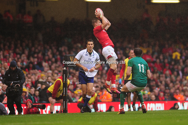 Pictured: Liam Williams of Wales in action during the Guinness six nations match between Wales and Ireland at the Principality Stadium, Cardiff, Wales, UK.<br /> Saturday 16 March 2019