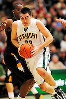 30 January 2010: University of Vermont Catamount forward Evan Fjeld, a Junior from Durham, NC, in action against the University at Albany Great Danes at Patrick Gymnasium in Burlington, Vermont. The Catamounts defeated the Danes 64-46 in the America East matchup. Mandatory Credit: Ed Wolfstein Photo