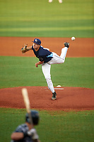 Charlotte Stone Crabs starting pitcher Brock Burke (17) delivers a pitch during the second game of a doubleheader against the Tampa Yankees on July 18, 2017 at Charlotte Sports Park in Port Charlotte, Florida.  Charlotte defeated Tampa 2-1.  (Mike Janes/Four Seam Images)