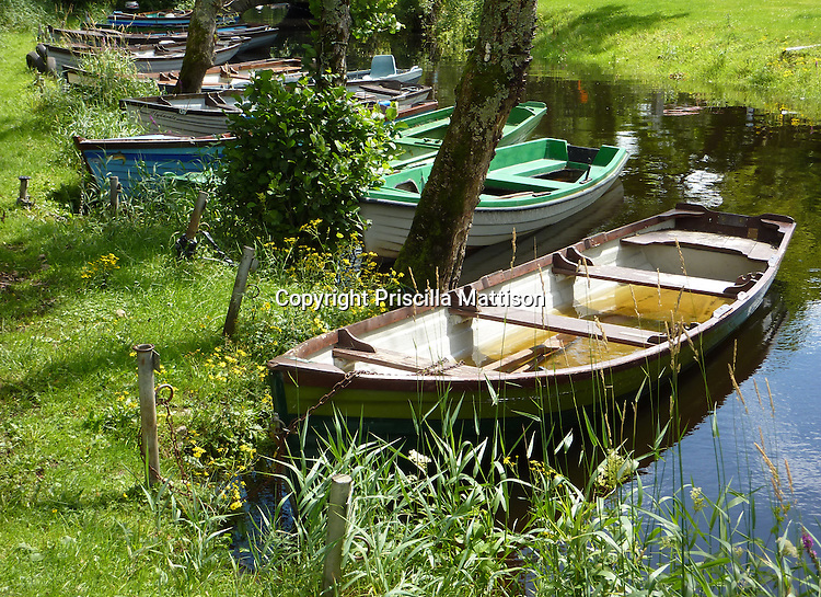 County Kerry, Republic of Ireland - July 19, 2010:  Rowboats float in a stream in Killarney National Park.