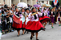 PASTO - COLOMBIA, 04-01-2019: Aspecto del desfile Llegada de La Familia Castañeda, las historias que cuentan las calles de la ciudad y sus corregimientos. Desfile que evoca hitos de la historia de Pasto en el siglo XX. Sus calles tienen mucho que contar. La Familia Castañeda, las autoridades y Pericles Carnaval cuentan diversos relatos, en el Carnaval de Negros y Blancos 2019. / Aspect of the parade Arrival of the Castañeda Family, the stories that tell the streets of the city and its corregimientos. Parade that evokes milestones in the history of Pasto in the twentieth century. Its streets have a lot to tell. The Castañeda Family, the authorities and Carnival Pericles tell different stories, in the Carnival of Blacks and Whites 2019. / Photo: VizzorImage / Leonardo Castro / Cont.