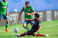 LAKE BUENA VISTA, FL - JULY 14: Nicolas Lodeiro #10 of the Seattle Sounders dribbling the ball during a game between Seattle Sounders FC and Chicago Fire at Wide World of Sports on July 14, 2020 in Lake Buena Vista, Florida.