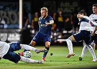 LAKE BUENA VISTA, FL - JULY 26: Johnny Russel of Sporting KC cuts inside and takes a shot during a game between Vancouver Whitecaps and Sporting Kansas City at ESPN Wide World of Sports on July 26, 2020 in Lake Buena Vista, Florida.