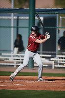 Gavin Maloney (9) of New Mexico Military Institute in Roswell, New Mexico during the Baseball Factory All-America Pre-Season Tournament, powered by Under Armour, on January 13, 2018 at Sloan Park Complex in Mesa, Arizona.  (Mike Janes/Four Seam Images)
