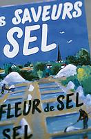 Europe/France/Poitou-Charentes/17/Charente-Maritime/Ile de Ré/Ars-en-Ré: Détail d'une enseigne de vente de sel régional