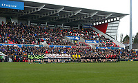 Monday 18th March 2019 | 2019 Schools Cup Final<br /> <br /> A minutes silence before the 2019 Ulster Schools Cup Final between MCB and CCB at Ravenhill Park, Belfast, Northern Ireland. Photo by John Dickson / DICKSONDIGITAL