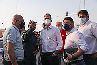 Pictured: Greek Prime Minister Kyriakos Mitsotakis (C) attends the area of the fire in Varibobi, Athens, Greece. Wednesday 04 August 2021<br /> Re: Forest fire in Varibobi, on the outskirts of Athens, Greece.