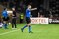 6th April 2021; Bankwest Stadium, Parramatta, New South Wales, Australia, Australian A League football, Western Sydney Wanderers versus Central Coast Mariners; referee Chris Beath points to the penalty spot while Carl Robinson coach of Western Sydney Wanderers shows his displeasure with the decision