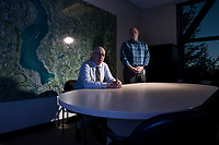 City of Sammamish Interim City Administrator Larry Patterson, left, and Interim IT Director Steve Schommer, in front of a map of the city. Sammamish has been forced to confront a ransomware case afflicting the area's computer systems, along the way bringing on new IT staff and protocols. Photo by Daniel Berman