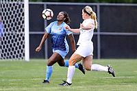 Piscataway, NJ - Sunday April 30, 2017: Kayla Mills, Caroline Flynn during a regular season National Women's Soccer League (NWSL) match between Sky Blue FC and FC Kansas City at Yurcak Field.